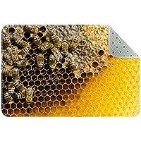 蜂の巣の黄色 キッチン、ベッドルーム、リビングルーム用の洗えるフロアマットラグ長方形の保育園用ラグ