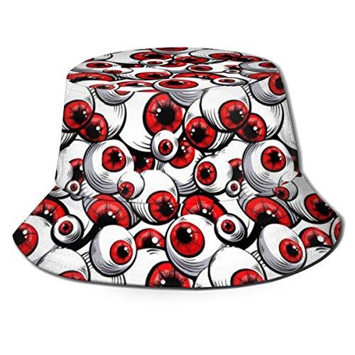 GodYo Bucket Hat Packable Reversible Scary Fantasy Patrón de Ojos Rojos Imprimir Sun Hat Fisherman Hat Cap Outdoor Camping