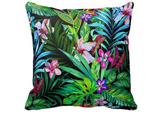 Fringcoook American Country Style Nature exotique Fleurs Tropical Rainforest Bird Morning Glory en coton et lin Couvre-lit Taie d'oreiller Housse de coussin Maison Canapé balcon décoratif 45,7 x 45,7 cm (2)