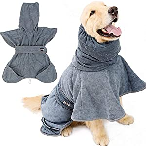 ROZKITCH Hoodie Dog Bath Robe with Belt and Pockets for Medium Large and Extra Large Dogs Adjustable, Super Absorbent Terry Cloth Pet Shower Towel, Grooming Accessory Microfiber