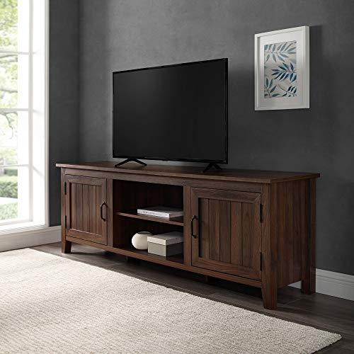 "Walker Edison Modern Farmhouse Grooved Wood Stand with Cabinet Doors for TV's up to 80"" Living Room Storage Shelves Entertainment Center, 70 Inch, Dark Walnut"