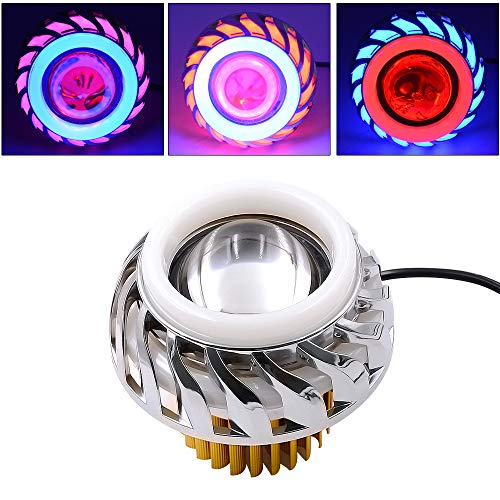 2 Stück Dual-Halo LED-Motorrad-Scheinwerfer-Birnen-12V-85V-Projektor Hallo/Lo Lichtstrahl-Engel Devil Eyes Lightings Octagonal Angel Devil Auge,Blau