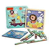 30 Pcs Wooden Board Bar Sorting Jigsaw Puzzles Set- Wood Sticks Puzzles Toy with 6 Cartoon Animal Pictures Preschool Color Recognition Stacking Puzzle Educational Toy Game for Kids Toddlers