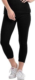 Lovable Women Girls Lycra Ankle Length Thermal Tights in Black Color- L/Lower-BK