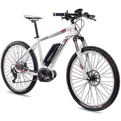 CHRISSON 27,5 Zoll E-Bike Mountainbike Bosch - E-Mounter 2.0 Weiss 48cm - Elektrofahrrad, Pedelec für Damen und Herren mit Bosch Motor Performance Line 250W, 63Nm - Intuvia Computer und 4 Fahrmodi