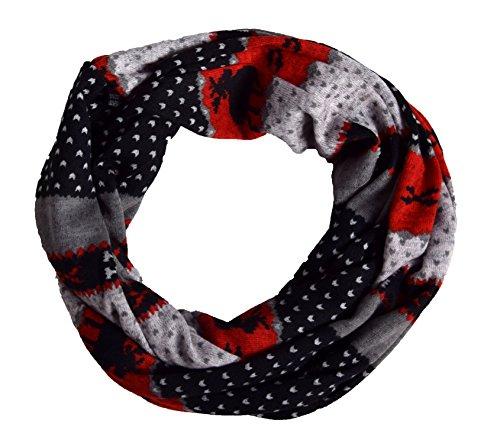 Unbekannt Loop Schal und Schlauchtuch in Norweger Muster Rot/Grau