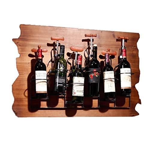 DAGONGREN Vintage Antigua decoración de la Pared Estante del Vino Creativo Bar de Madera Colgante Forjado Vino Temperamento Hecho a Mano