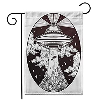Adowyee 12 x 18  Garden Flag Alien Spaceship UFO Flying Saucer Abducting Human Conspiracy Theory Outdoor Double Sided Decorative House Yard Flags