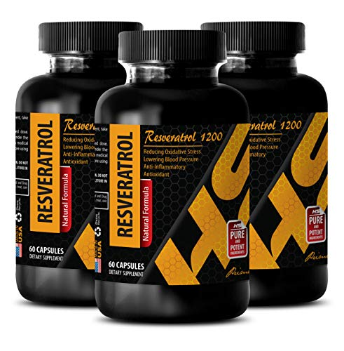 Best antioxidant Supplement - RESVERATROL 1200 - Natural Formula - acai Berry Green Tea - 3 Bottles 180 Capsules