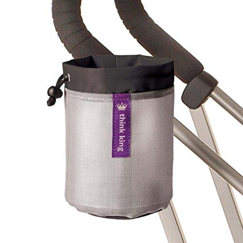 Think King Soft Buggy Cup Getränkehalter für Kinderwagen aus weichem Material, Schwarz / Silber