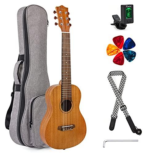 Guitalele 31 pulgadas Guitarlele Mini Guitarra de viaje Ukulele Caoba con bolsa de concierto Tuner Picks Correa por Kmise