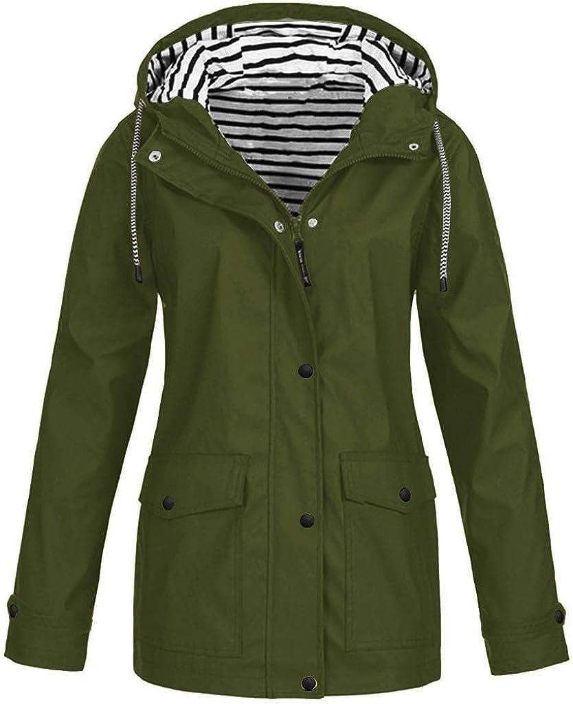 Womens Zipper Jacket Zip Up Windproof Waterproof Lightweight Utility Coat Outwear Casual Streetwear