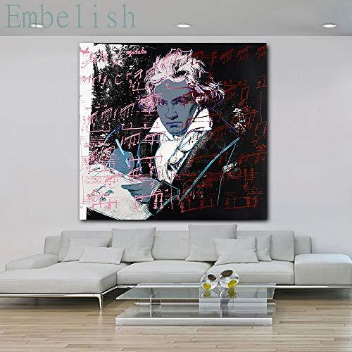 jiushibt No frameEmbelish Pieces Beethoven Von Andy Warhol Moderne Wohnkultur Bilder für Wohnzimmer HD Leinwand Malerei Schlafzimmer Poster gerahmt60x60cm
