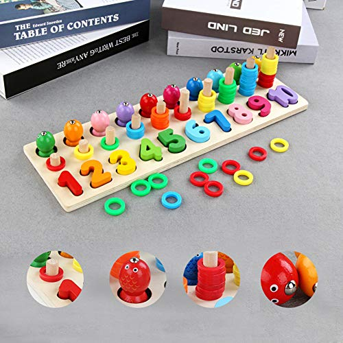Foreen 3 in 1 Wooden Geometric Shape Puzzle Match Count Fishing Game Education Kids Toy Best Christmas Birthday Gift for Children
