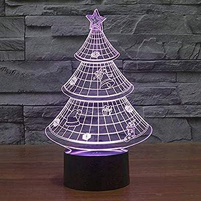 Luz de noche 3D Luz de noche Luz de noche Feliz árbol de navidad Bombilla Dormitorio Intermitente Árbol de navidad Babyhome Decoración de fiesta Regalo de navidad de Halloween