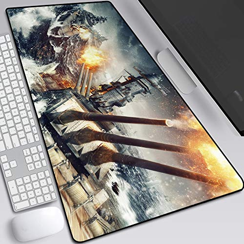 World of Warships Mouse Pad,Large Gaming Mouse Pad, Classic Pattern Mouse mat,Extended Size Desk Mat Non-Slip Rubber Mouse Mat (17, 800 × 300× 2 mm / 31.5 × 11.8 × 0.1 inch)