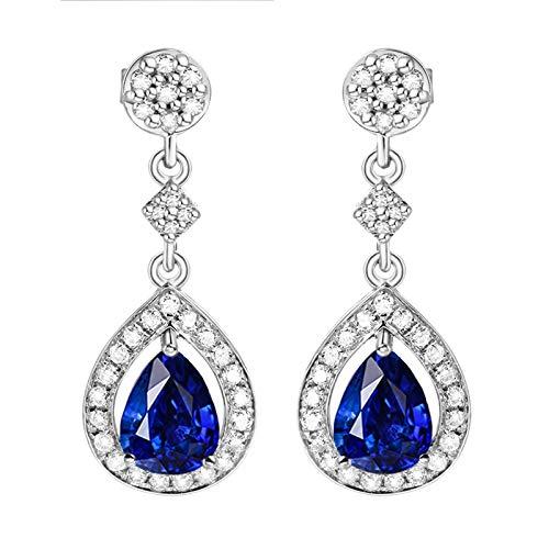 Beydodo Pendiente de Mujer de Plata Azul,Pendientes de Oro Blanco 18 Kilates Gota de Agua con Diamante Zafiro Azul 2.06ct