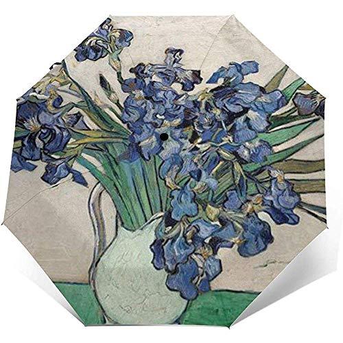 Iris in weißer Vase 1890 Faltregenschirm wasserdicht-Sun Block-Auto Open&Close (schwarzer Kleber)