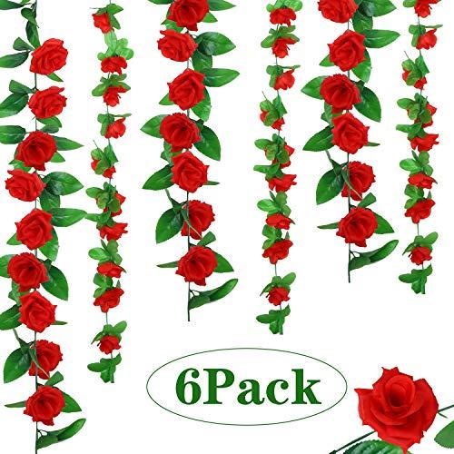 WILLBOND 6 Piezas de Vides de Rosa Artificial Guirnaldas de Flor de Seda Plantas Colgantes para Decoración de Hogar al Aire Libre Boda Arco Jardín Pared, 2 Estilos