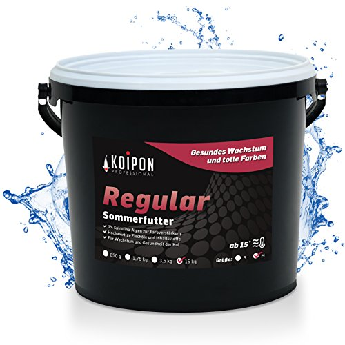 KOIPON Regular Koifutter Sommer schwimmend, 1% Spirulina, Teichfutter 6mm Pellets für japanische Koi, Koifutter 15 kg, als Goldfischfutter geeignet