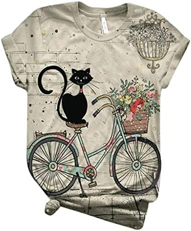 Black Cat On Bike 3D Graphic Tee Tops Vintage Short Sleeve T Shirt Crewneck Casual Floral Print product image