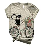 Dosoop 3D Animal Printed Cute Graphic Tees for Women 2020 Casual Plus Size Loose Crewneck Short Sleeve T Shirt Tunic Tops