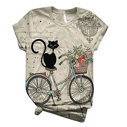 Battnot Damen T-Shirts Sommer Katze und Fahrrad Tier Gedruckt Tie-Dye Retro Plus Size Kurzarm Rundhals Oberteile Tops, Frauen Bluse Tunika Pullover Pulli Hemd Womens Oversize Blouse Tee Sweatshirts