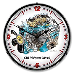 Pontiac GTO Tri Power 389 V8 LED Wall Clock, Retro/Vintage, Lighted, 14 inch