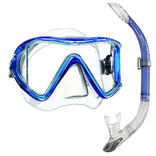 Mares i3 Einglasmaske Tauchermaske + Sailor Ventil-Schnorchel (blau)