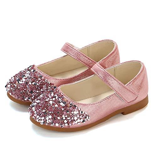TFMus Kleinkind Mädchen Sparkle Glitter Party Kleid Schuhe Low Heel Mary Janes Schuhe Infant Princess Schuhe Hochzeit Schuhe Tanz Ballsaal Latin Schuhe (22,Pink)