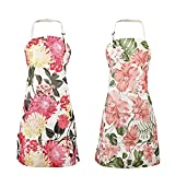 Cooking Aprons for Women with Pockets Floral Pattern - 2 Pieces Cute Cooking Apron Vintage Kitchen Apron for Christmas Thanksgiving Mother's Day Birthday Baking Gifts for Women