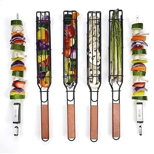 4pcs Kebab Parrilla Cesta & Brochetas de parrilla, Kabob Cestas de parrilla antiadherente de acero inoxidable barbacoa barbacoa parrilla cesta, barbacoa salchicha jaula