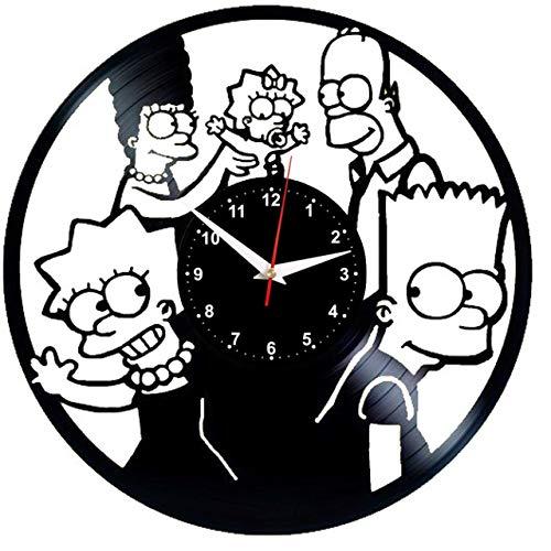 EVEVO The Simpsons Wanduhr Vinyl Schallplatte Retro-Uhr Handgefertigt Vintage-Geschenk Style Raum Home Dekorationen Tolles Geschenk Wanduhr The Simpsons
