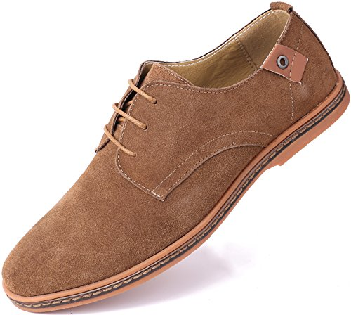 Marino Suede Oxford Dress Shoes for Men - Business Casual Shoes (Light Brown, 12)