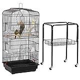 Yaheetech Cage Oiseaux Volière Portable Design pour Perruche Calopsitte Canari Inséparable Mandarins 46 x 35.3 x 92 cm avec Support Détachable