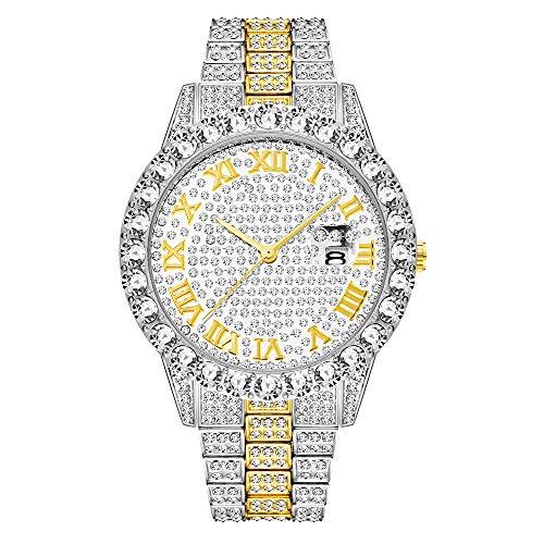 cilyberya Reloj de Diamantes Iced out Big Rhinestones en Trim y Elegantes Indicadores de Tiempo de baquette para Hombres y Mujeres