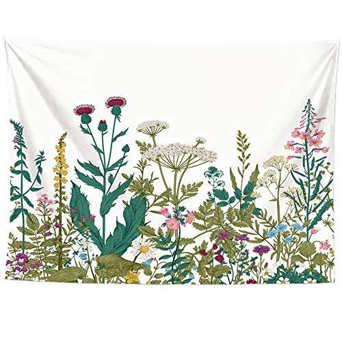 Tapiz Tapiz Floral Colorido Colgante de Pared para Sala de Estar Flor Decoración de Dormitorio Planta Tropical Hojas Imprimir Tapiz de Pared Estera de Picnic 150X130CM
