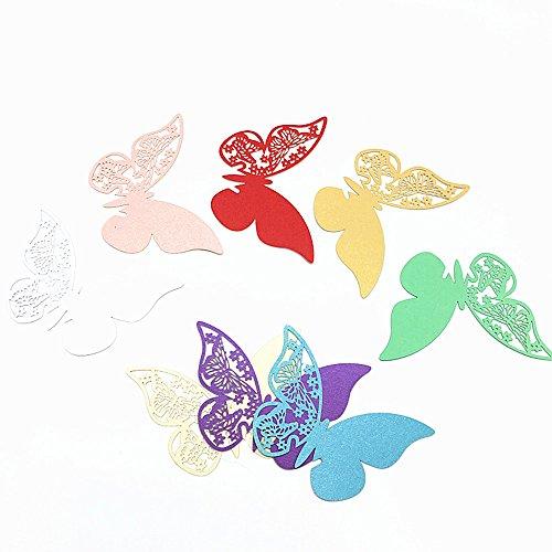 Haimoburg 80 Pezzi 8 Colori Segnaposto Segnabicchiere 3D Farfalle Parete Carta Posto segnalibro Nome della Scheda con i Modelli Vuoti nelle Ali per Il Regalo della Festa Nuziale della Casa Deco