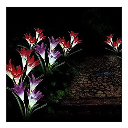 Fiore Solare Luces De Flores Solares Al Aire Libre, Decoración De Luces De Pila De Flores A Prueba De Agua En El Patio, para Navidad(Color:Rojo)
