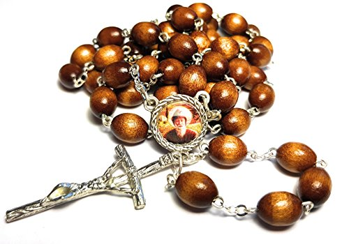 3rd Class relic Rosary Saint Charbel Sharbel Makhlouf Maronite Monk and Priest from Lebanon Prayer for Healing (Brown)