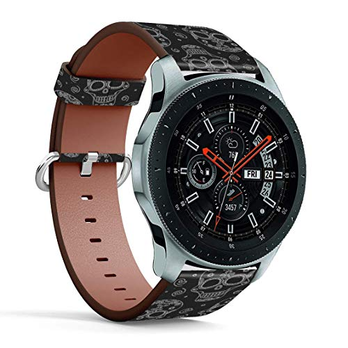 Replacement Leather Printing Wristbands Compatible with Galaxy Watch3 (45mm) / Galaxy Watch (46mm), Standard 22mm Strap - BW Sugar Skull
