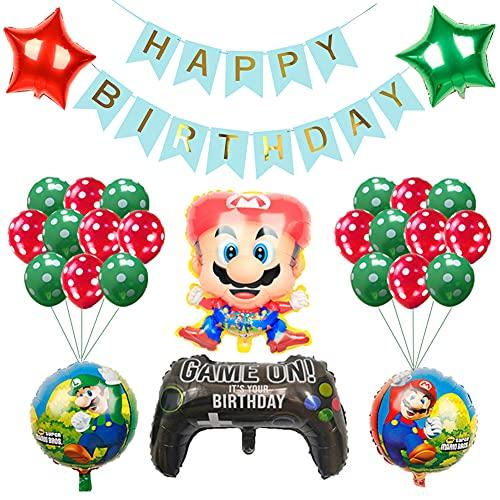 CYSJ Decorazioni Feste Super Mario 28pcs Mario Decorazioni di Compleanno,Mario a Tema Festa di Compleanno Palloncini,Happy Birthday Party Supplies Kit