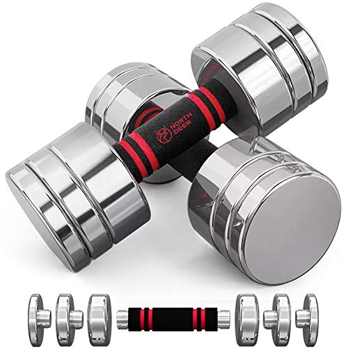 Northdeer Steel Dumbbells Ultracompact & Adjustable Chrome Dumbbell Set with Foam Handles 10lb 20lb Pair Home Gym Workout (20lb×2)