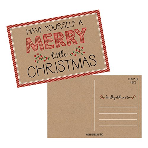 50 Kraft Holiday Greeting Cards, Cute Fancy Blank Winter Christmas Postcard Set, Bulk Pack of Premium Seasons Greetings Note, Happy New Years Cards for Kids, Business Office or Church Thank You Notes