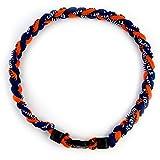 MapofBeauty 18' Fashion Three Braided Rope Sport Style Tornado Necklace (Dark Blue/Orange)