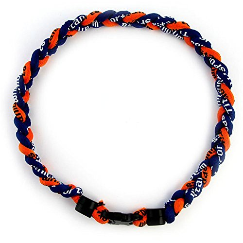"MapofBeauty 18"" Fashion Three Braided Rope Sport Style Tornado Necklace (Dark Blue/Orange)"