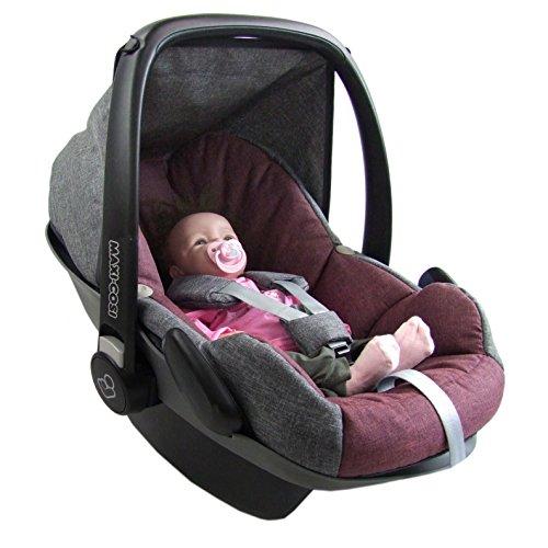 BAMBINIWELT Ersatzbezug für Maxi-Cosi PEBBLE 5-tlg, Bezug für Babyschale, Komplett-Set GRAU/BORDO XX