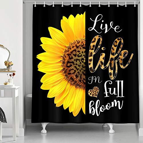 NYMB Sonnenblumen-Duschvorhang mit Leoparden-Motivationszitaten in Schwarz und Gelb, Live-Life in Full Bloom, inspirierender Druck, Badezimmer-Sets, Stofftuch-Badevorhänge mit Haken, 174 x 178 cm