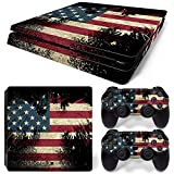 PS4 Slim Whole Body Vinyl Skin Sticker Decal Cover for Playstation 4 Slim System Console and Controllers - The Flag of the United States