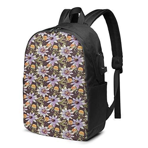 Mochila Portatil 17 Pulgadas Mochila Hombre Mujer con Puerto USB, Flor 221 Mochila para El Laptop para Ordenador del Trabajo Viaje
